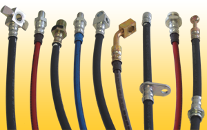 D.O.T. approved rubber and stainless steel automotive brake hoses