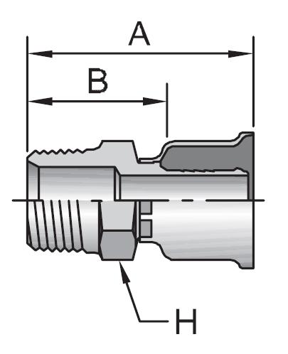 Parker 26 series male rigid pipe crimp fitting