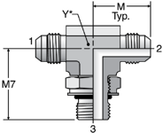 Parker S87OMX - JIC ISO 6149 Branch Tee