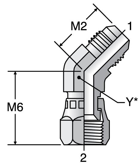 Parker V6X - JIC 45° Swivel Nut Elbow