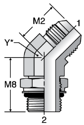 Parker V87OMX - JIC Male 45° Elbow – ISO 6149