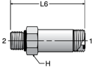 Parker FF5OLO - ORFS Long Straight Thread Connector