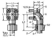 Parker BFW Hydraulic Flange Elbow