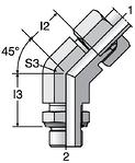 Parker VEE-R - EO-2 Adjustable Locknut 45° Elbow